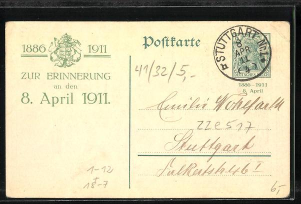 AK Zur silbernen Hochzeit unseres Ehrfurcht geliebten Königspaares von Württemberg 1911, Ganzsache 1