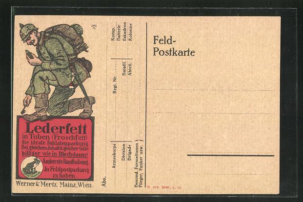 AK Reklame Erdal Lederfett in Tuben, Werner & Mertz, Soldat 0