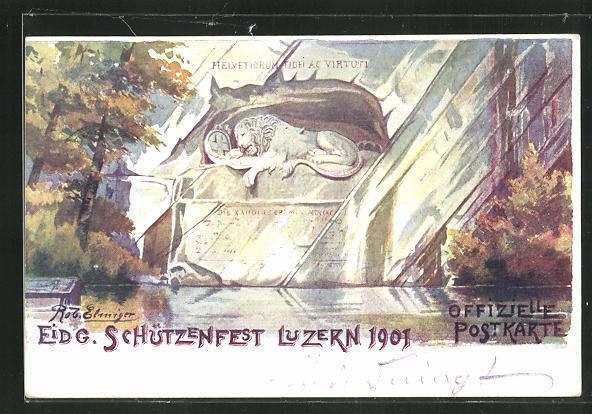 Künstler-AK Luzern, Eidg. Schützenfest 1901 0