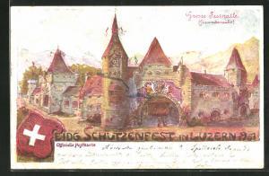 Künstler-AK Luzern, Eidg. Schützenfest 1901, grosse Festhalle