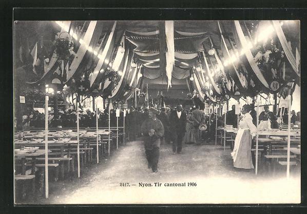 AK Nyon, Tir cantonal 1906, Innenansicht Festzelt 0