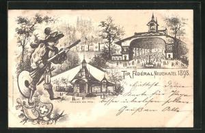 Künstler-AK Neuchatel, tir Federal 1898, Pavillon des Prix