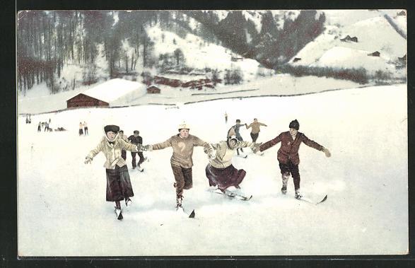 AK Wintersport in den Alpen mit Skifahrern 0