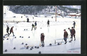 AK Wintersportler beim Curling / Eisstockschiessen
