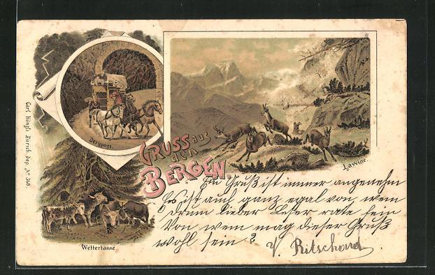 Lithographie Gruss aus den Bergen mit Lawine, Bergpost und Wettertanne 0