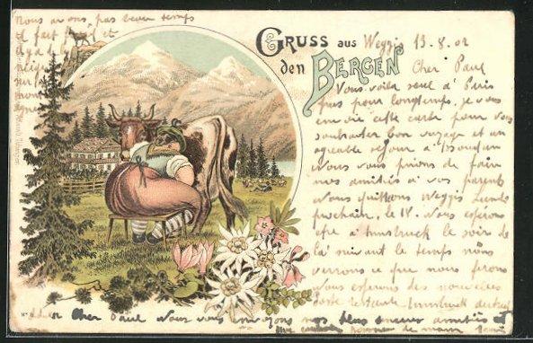 Lithographie Gruss aus den Bergen, Melken der Kuh auf der Alm 0