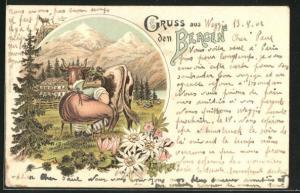 Lithographie Gruss aus den Bergen, Melken der Kuh auf der Alm
