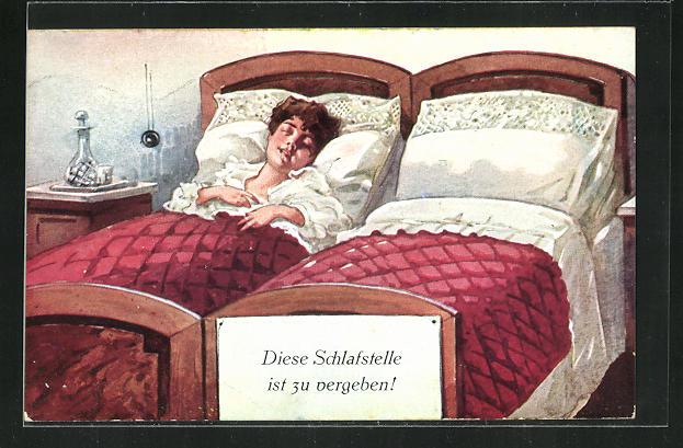AK Diese Schlafstelle ist zu vergeben!, hübsche Frau allein im Doppelbett 0