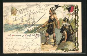 Lithographie Auf Germanen zum Kampf und Sieg!, Bismarck