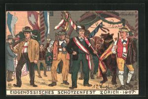 Künstler-AK Zürich, Eigenössisches Schützenfest 1907, Festzug