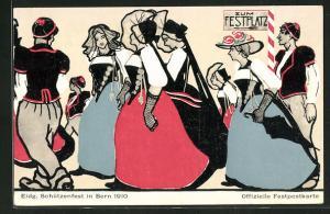 Künstler-AK Bern, Eidg. Schützenfest 1910, Frauen auf dem Weg zum Festplatz