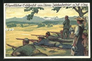 Künstler-AK Aarau, Eidgenössisches Schützenfest 1924, Schützen am Schiessstand