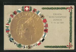 Präge-AK Zürich, Eidgen. Schützenfest 1907, Helvetia als goldenes Relief