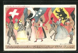 Künstler-AK Aarau, Eidegnössisches Schützenfest 1924, Tanz zum Fest
