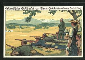 AK Aarau, Eidgenössisches Schützenfest 1924, Schützen am Schiessstand