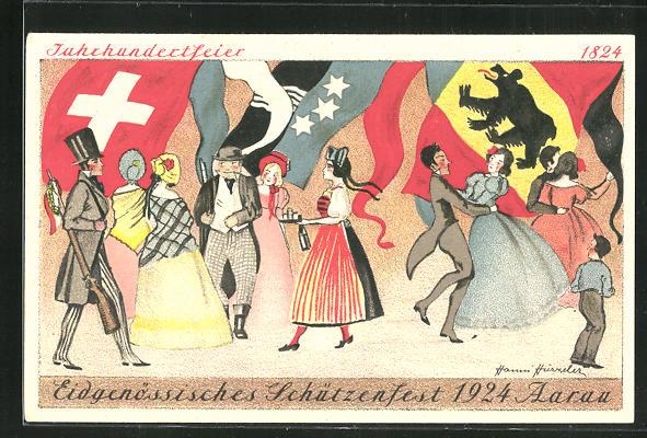 Künstler-AK Aarau, Eidegnössisches Schützenfest 1924, Tanz zum Fest 0