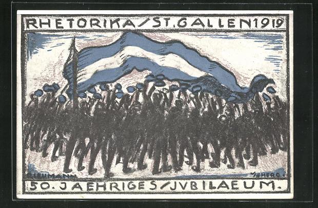 Künstler-AK St. Gallen, Rhetorika 1919, 50. Jaehriges Jubiläum 0