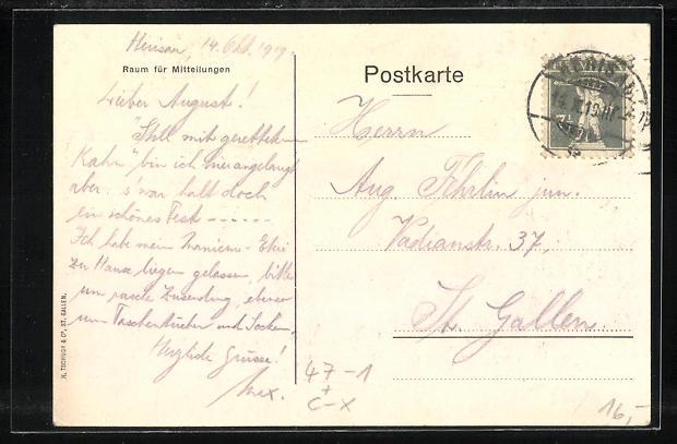 Künstler-AK St. Gallen, Rhetorika 1919, 50. Jaehriges Jubiläum 1
