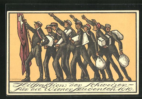 Künstler-AK Hilfsaktion der Schweizer für die Wiener Studenten 1919 0