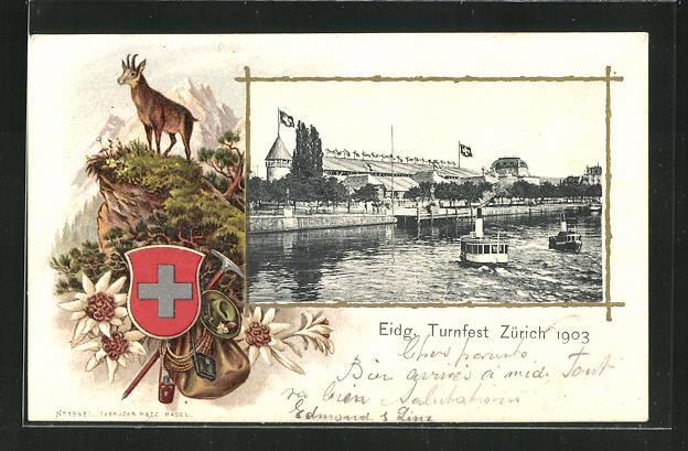 Passepartout-AK Zürich, Eidg. Turnfest 1903, Wappen 0