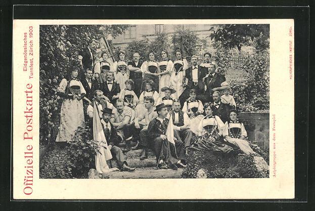 AK Zürich, Eidgenössisches Turnfest 1903, Trachtengruppe 0
