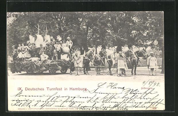 AK Hamburg, IX. Deutsches Turnfest mit Festwagen 0