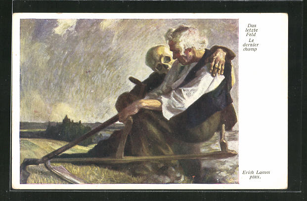 Künstler-AK Das letzte Feld, Der Tod besucht den alten Bauern 0