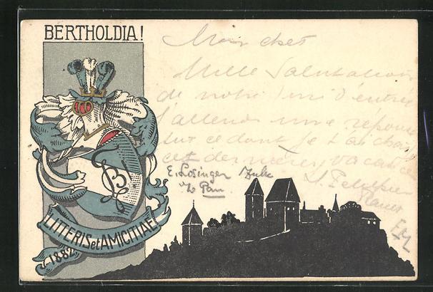 AK Studentenwappen Bertholdia! Litteris et Amicitae 1882 0