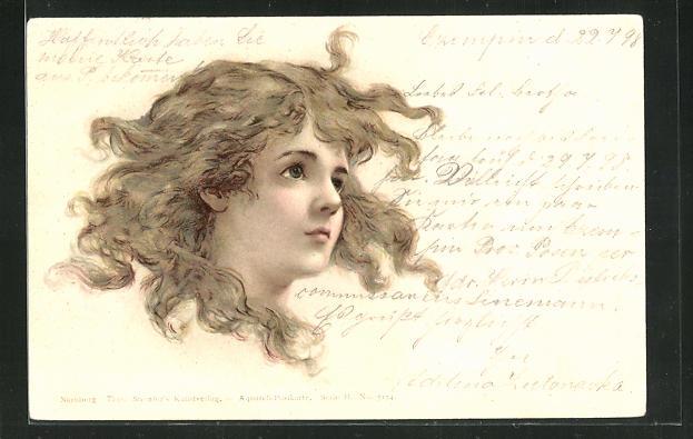 Lithographie Mädchen mit wehenden Haaren 0