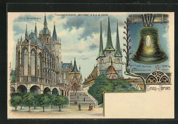 Lithographie Erfurt, Halt gegen das Licht, Dom und Severikirche 0