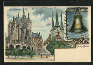 Lithographie Erfurt, Halt gegen das Licht, Dom und Severikirche