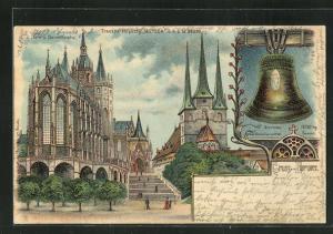 Lithographie Erfurt, Halt gegen das Licht, Dom und Severinkirche