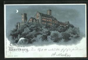 Lithographie Halt gegen das Licht, Wartburg bei Nacht