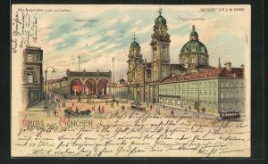 Lithographie München, Halt gegen das Licht, Feldherrnhalle und Theatinerkirche
