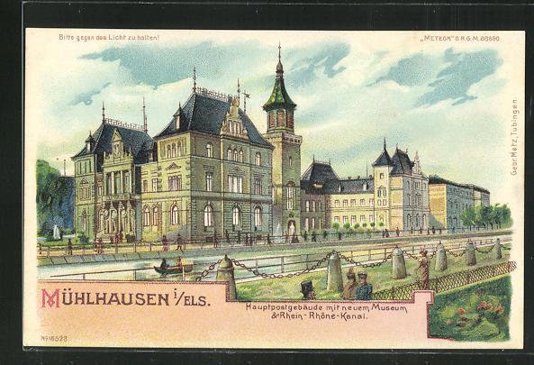 Lithographie Mühlhausen, Halt gegen das Licht, Hauptpostgebäude mit neuem Museum 0