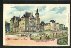 Lithographie Mühlhausen, Halt gegen das Licht, Hauptpostgebäude mit neuem Museum