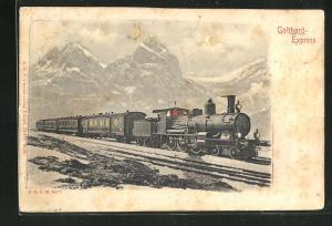 AK Halt gegen das Licht, Gotthard-Express bei Mondschein