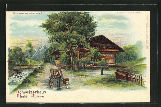 Lithographie Halt gegen das Licht, Schweizerhaus, Chalet Suisse 0