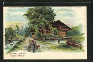 Lithographie Halt gegen das Licht, Schweizerhaus, Chalet Suisse