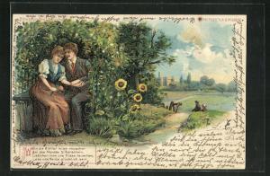 Lithographie Halt gegen das Licht, Liebespaar im Blumenversteck