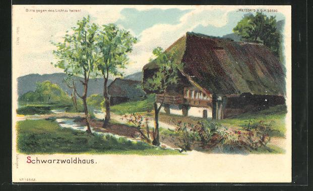 Lithographie Halt gegen das Licht, Partie mit Schwarzwaldhaus 0
