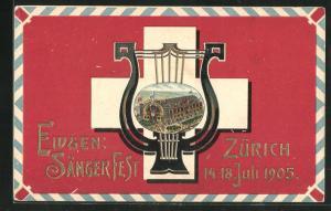 AK Zürich, Eidgenössisches Sängerfest 1905, Harfe