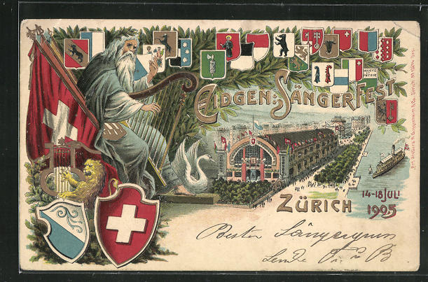 Präge-Lithographie Zürich, Eidgen. Sängerfest 1905, Wappen 0