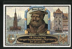 AK Nürnberg, VIII. Deutsches Sängerbundfest 1912, Hans Sachs
