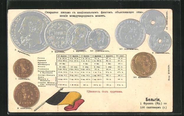 Präge-AK Belgische Münzen, Roi Leopold II., Wappen 0