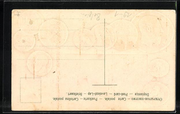Präge-AK Belgische Münzen, Roi Leopold II., Wappen 1