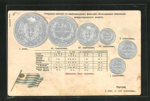 Präge-AK Münzen aus Uruguay mit Fahne 0