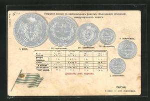 Präge-AK Münzen aus Uruguay mit Fahne