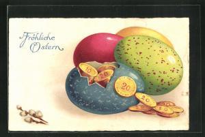 Lithographie Fröhliche Ostern, Münzen im Osterei