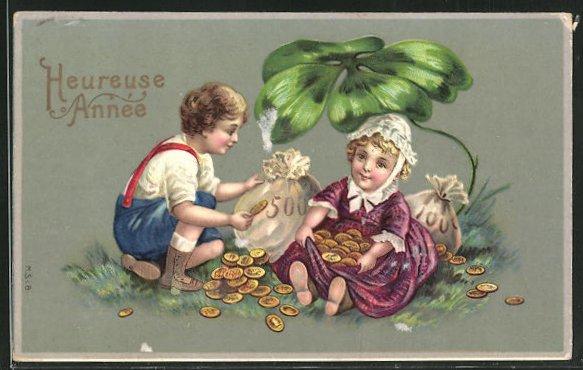 Lithographie Kinder mit Münzsäcken und Kleeblatt 0
